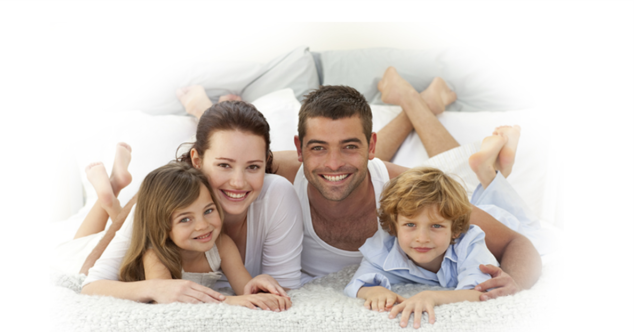 Family in Clean Bed